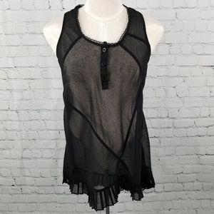 MYTH NYC    sheer sleeveless lace patchwork blouse